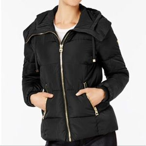 Black Guess  hooded down puffer coat